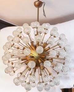 Starburst Sputnik Chandelier with Brass Frame and Flower Shaped Glass 1980s - 1589458