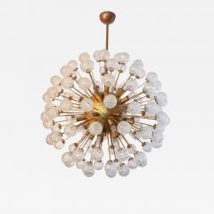Starburst Sputnik Chandelier with Brass Frame and Flower Shaped Glass 1980s - 1589924