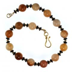 Statement Necklace in Shades of Golden Jade Black Tourmaline with golden accents - 1926861