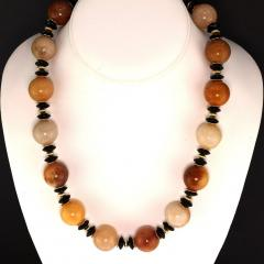 Statement Necklace in Shades of Golden Jade Black Tourmaline with golden accents - 1926862
