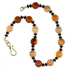 Statement Necklace in Shades of Golden Jade Black Tourmaline with golden accents - 1926863
