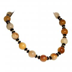 Statement Necklace in Shades of Golden Jade Black Tourmaline with golden accents - 1927240