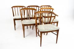 Statevilles Chair Company Mid Century Walnut Dining Chairs Set of 6 - 1869860