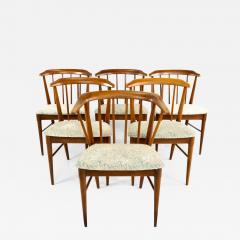 Statevilles Chair Company Mid Century Walnut Dining Chairs Set of 6 - 1877552