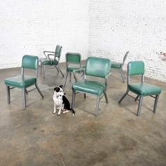 Steelcase Co Industrial modern metal green vinyl faux leather dining chairs style 145 - 2072785