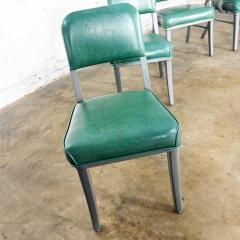 Steelcase Co Industrial modern metal green vinyl faux leather dining chairs style 145 - 2072792