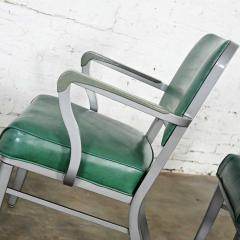 Steelcase Co Industrial modern metal green vinyl faux leather dining chairs style 145 - 2072793