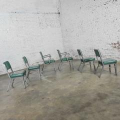 Steelcase Co Industrial modern metal green vinyl faux leather dining chairs style 145 - 2072801