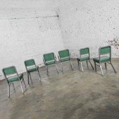 Steelcase Co Industrial modern metal green vinyl faux leather dining chairs style 145 - 2072804