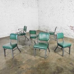 Steelcase Co Industrial modern metal green vinyl faux leather dining chairs style 145 - 2072805
