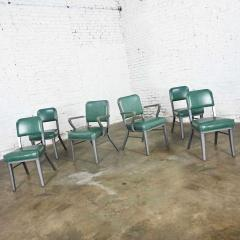 Steelcase Co Industrial modern metal green vinyl faux leather dining chairs style 145 - 2072807
