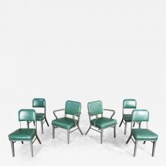 Steelcase Co Industrial modern metal green vinyl faux leather dining chairs style 145 - 2074760