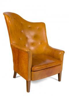 Steen Eiler Rasmussen Asymmetrical Leather Armchair for AJ Iverson Denmark 1936 - 876896