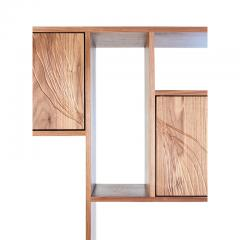 Stefan Rurak Studio E 1 Patinated Steel tag re Shelving with Solid Walnut Faces Concrete Base - 1371785