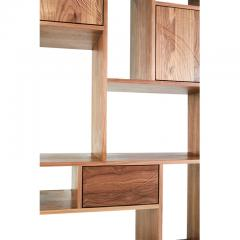 Stefan Rurak Studio E 1 Patinated Steel tag re Shelving with Solid Walnut Faces Concrete Base - 1371788