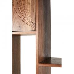 Stefan Rurak Studio E 1 Patinated Steel tag re Shelving with Solid Walnut Faces Concrete Base - 1371789