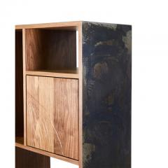 Stefan Rurak Studio E 1 Patinated Steel tag re Shelving with Solid Walnut Faces Concrete Base - 1371792