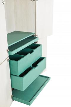 Stefan Rurak Studio Minimal 4 Door Janice Armoire Concrete White Oak and Mint Green Interior - 1093210
