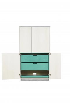 Stefan Rurak Studio Minimal 4 Door Janice Armoire Concrete White Oak and Mint Green Interior - 1093216