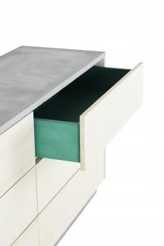 Stefan Rurak Studio Minimal 6 Drawer Janice Dresser Concrete White Oak and Mint Green Interior - 1091514