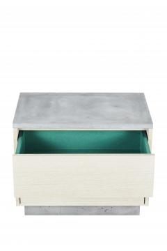 Stefan Rurak Studio Minimal Janice Side Table Concrete White Oak and Mint Green Interior - 1093281