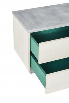 Stefan Rurak Studio Minimal Janice Side Table Concrete White Oak and Mint Green Interior - 1093282