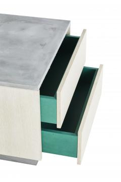Stefan Rurak Studio Minimal Janice Side Table Concrete White Oak and Mint Green Interior - 1093283