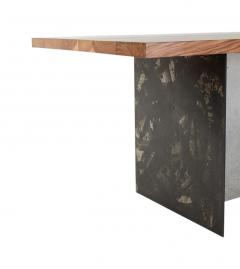 Stefan Rurak Studio T 1 Dining Table Walnut Wood Top Patinated Steel and Cracked Concrete Leg - 1355468