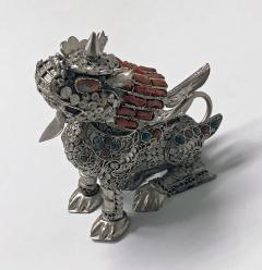 Sterling silver Foo Lion Dog and colour stone inlay probably Chinese C 1950s - 1172518