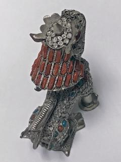Sterling silver Foo Lion Dog and colour stone inlay probably Chinese C 1950s - 1172522