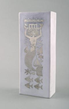 Stig Lindberg Grazia vase in glazed stoneware with mermaid and fish in silver inlay - 1346841