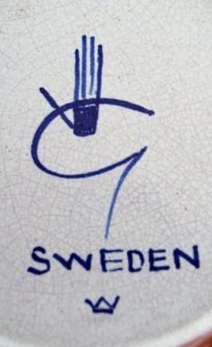 Stig Lindberg Stig Lindberg Gustavsberg Faience jug vase with hand painted decoration - 1221506