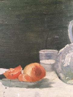 Still Life Oranges and Bottle Oil on Board - 1039548