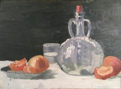 Still Life Oranges and Bottle Oil on Board - 1039914