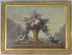 Still Life of Flowers in Basket on Ledge - 501713
