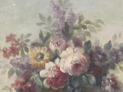 Still Life of Flowers in Basket on Ledge - 501714