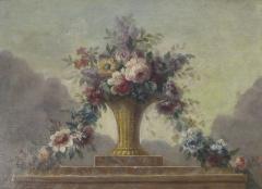 Still Life of Flowers in Basket on Ledge - 503449
