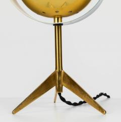 Stilux Milano 1950s Stilux Milano Brass and Glass Tripod Saturno Table Lamp - 616235