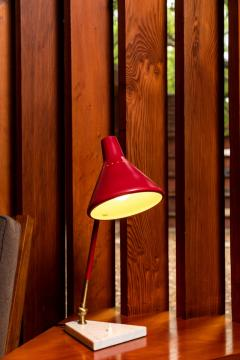 Stilux Milano 1950s Stilux Milano Red and White Mable Table Lamp - 1079748