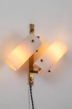 Stilux Milano Set of Three Stilux Double Glass and Brass Wall Lights circa 1950s - 688898