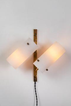 Stilux Milano Set of Three Stilux Double Glass and Brass Wall Lights circa 1950s - 688899