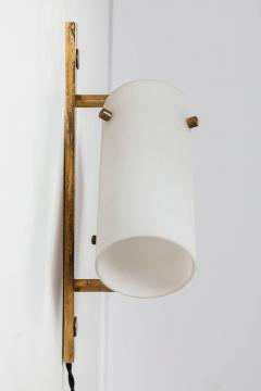 Stilux Milano Set of Three Stilux Double Glass and Brass Wall Lights circa 1950s - 688903