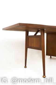 Stow Davis Mid Century Walnut and Brass Boomerang Desk - 1870359