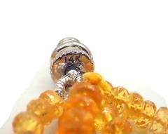 Stranded Faceted Natural Yellow Sapphire Diamond 14KT White Gold Beads Necklace - 1904517
