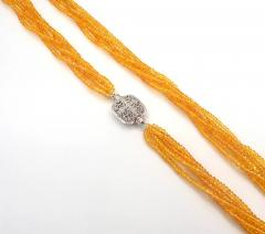 Stranded Faceted Natural Yellow Sapphire Diamond 14KT White Gold Beads Necklace - 1904519