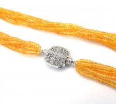 Stranded Faceted Natural Yellow Sapphire Diamond 14KT White Gold Beads Necklace - 1904521