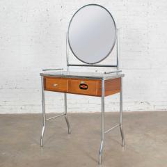 Streamline chrome maple black make up beauty barber vanity with mirror - 1765249