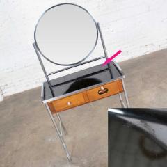 Streamline chrome maple black make up beauty barber vanity with mirror - 1765251