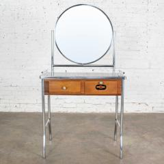 Streamline chrome maple black make up beauty barber vanity with mirror - 1765255