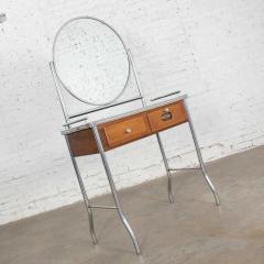 Streamline chrome maple black make up beauty barber vanity with mirror - 1765257